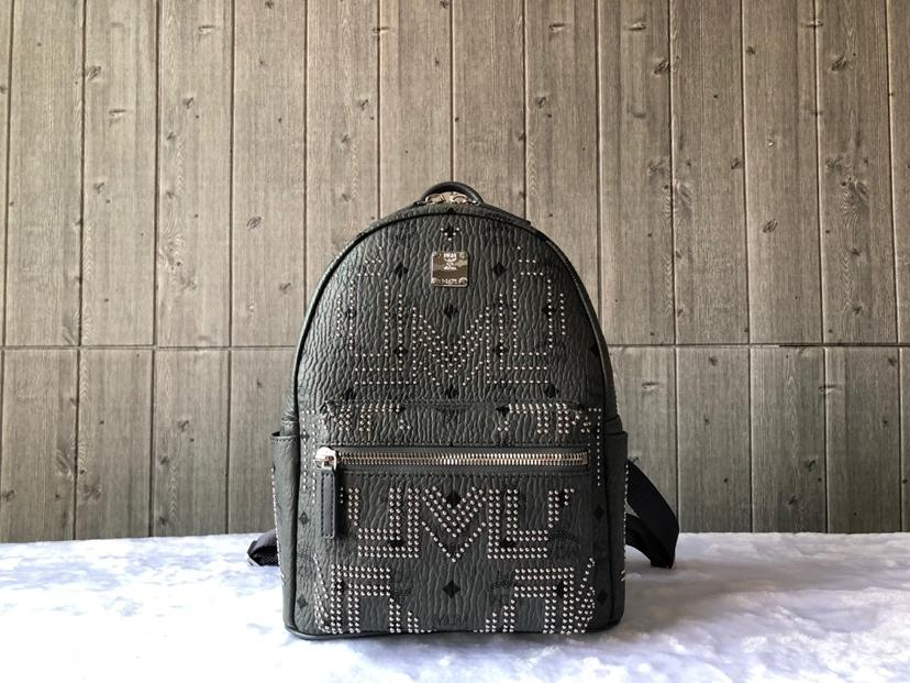 Cheap MCM Small Stark Women Backpack in Gunta M Studs Visetos Grey