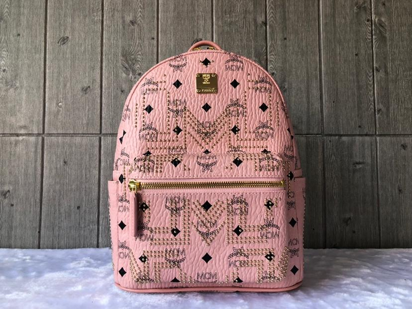 Cheap MCM Small Stark Women Backpack in Gunta M Studs Visetos Pink