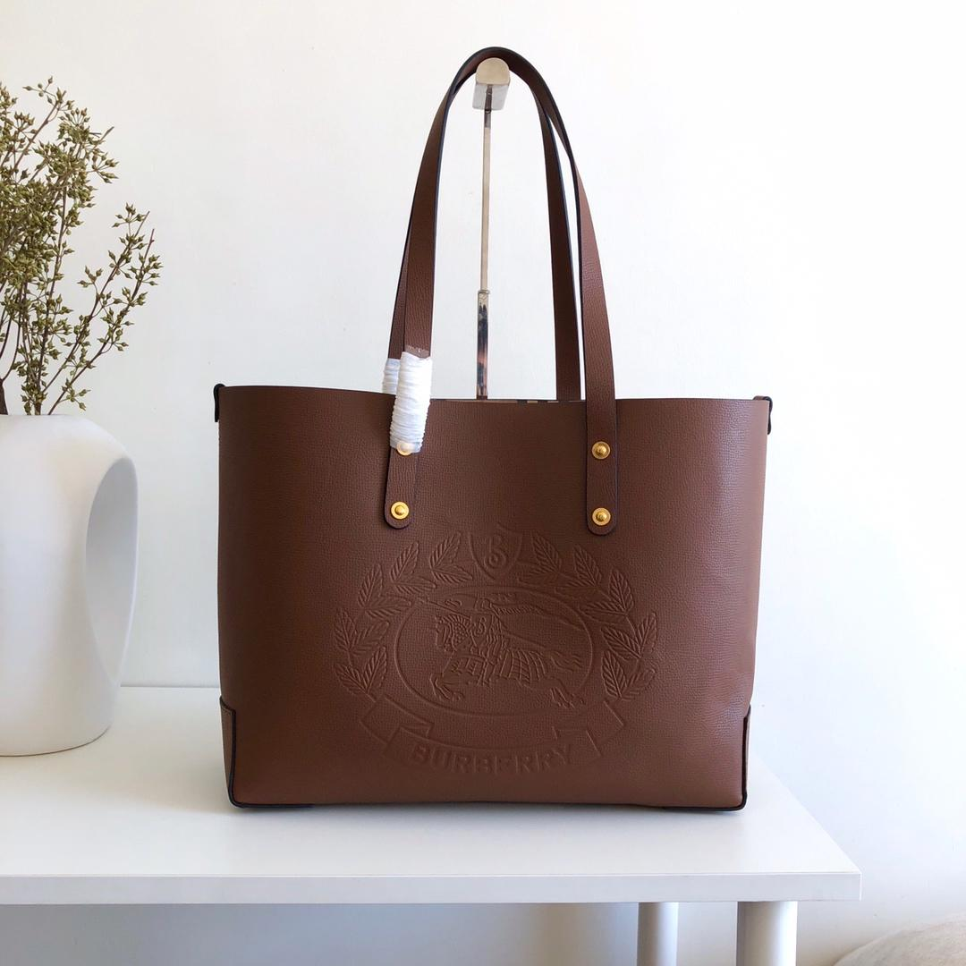 Cheap Replica Burberry Small Embossed Crest Leather Tote Brown