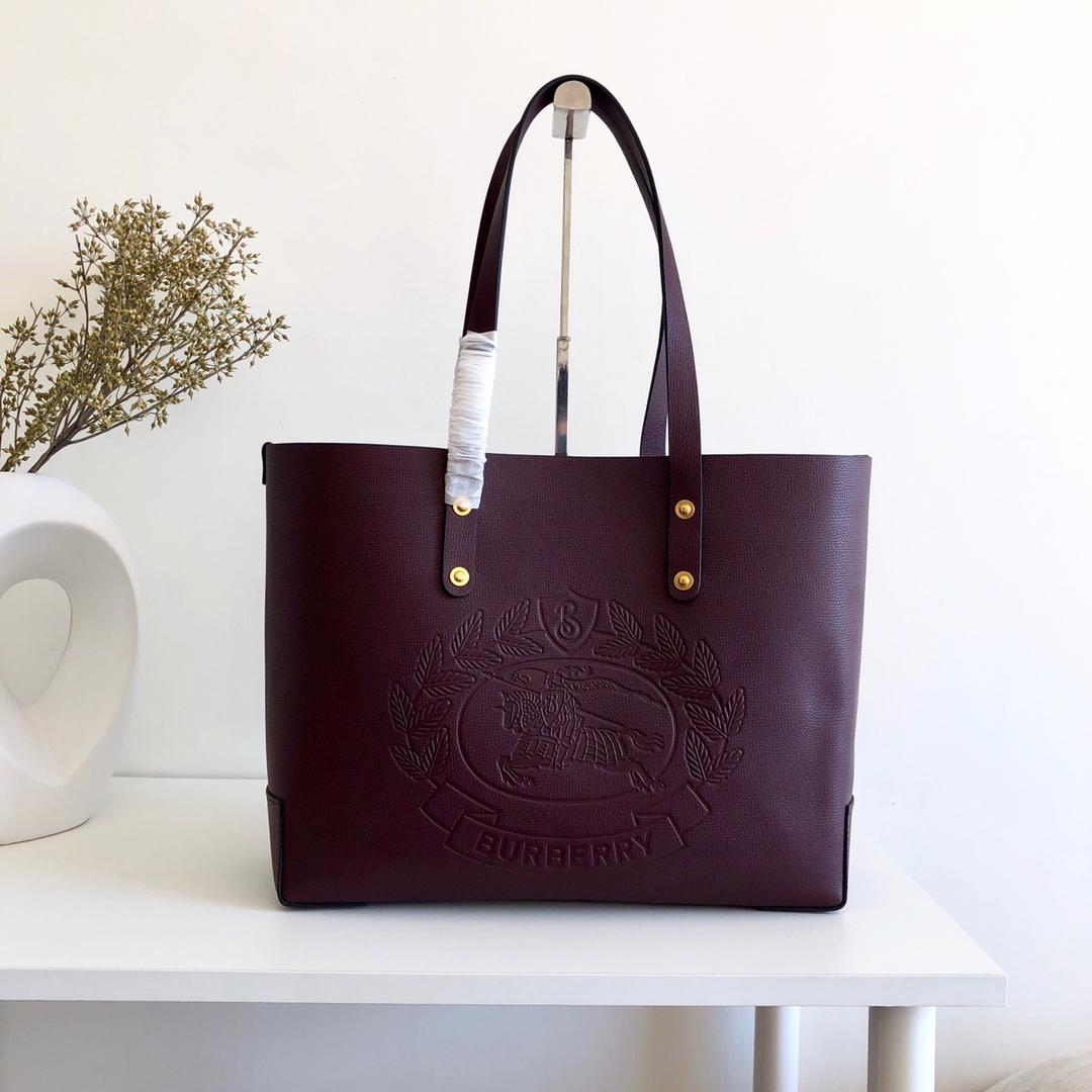 Cheap Replica Burberry Small Embossed Crest Leather Tote Burgundy