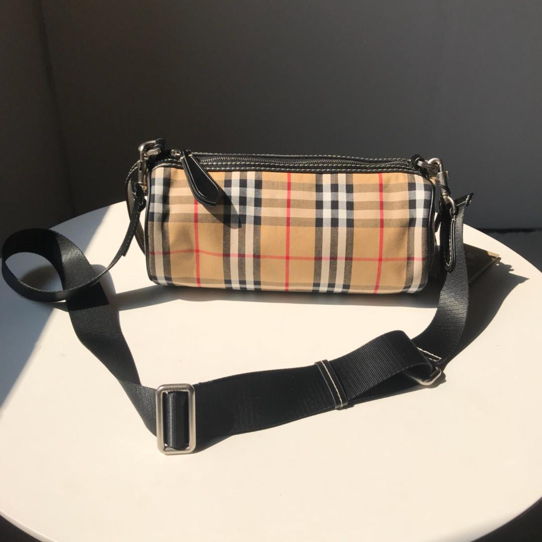 Cheap Replica Burberry The Small Vintage Check and Leather Barrel Bag