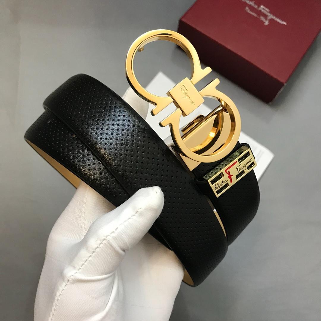 Cheap Replica Ferragam Men Leather Belt Width 3.4cm With Gold Buckle 084