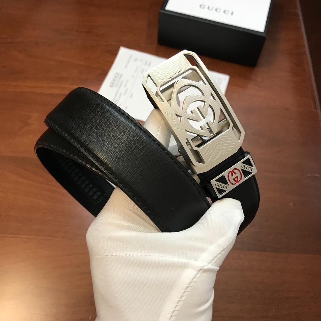 Cheap Replica Gucci Men Leather Belt Black Width 3.4cm With Silver Buckle 083