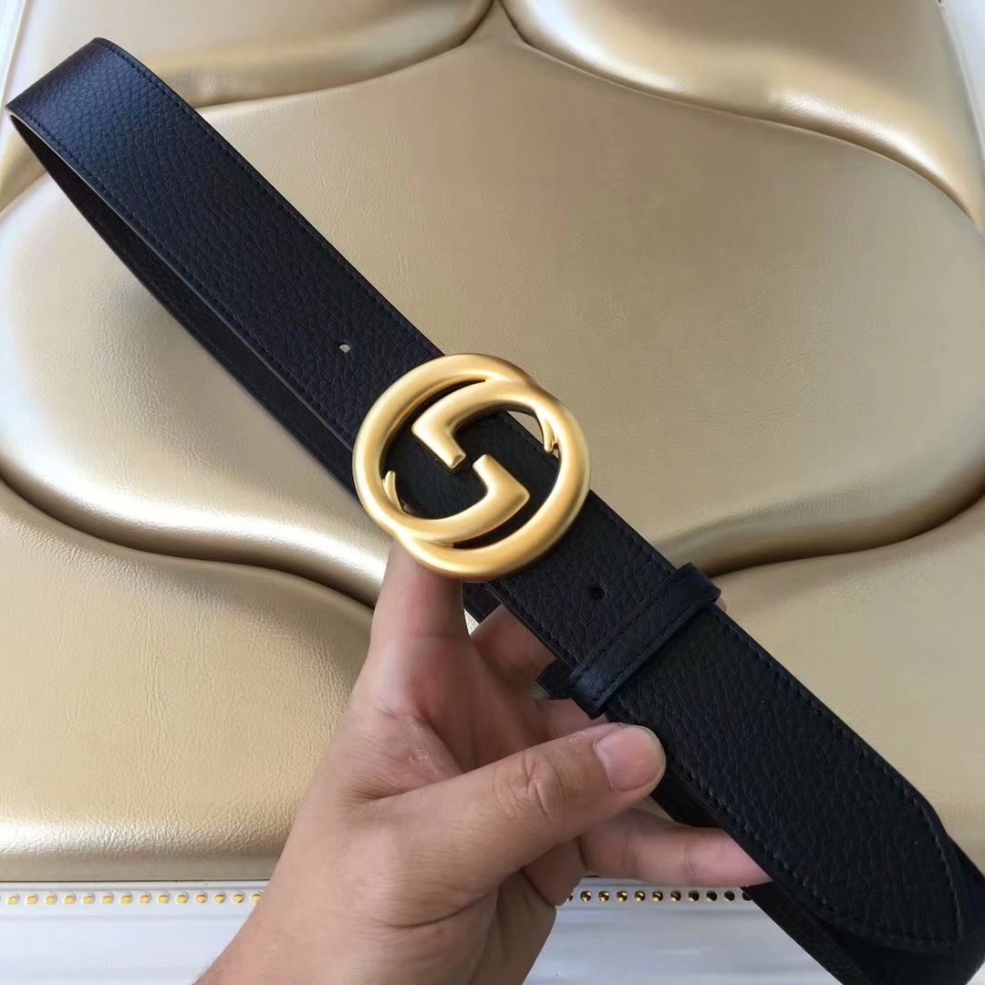 Cheap Replica Gucci Men Leather Belt Black Width 3.8cm With Gold Buckle 077