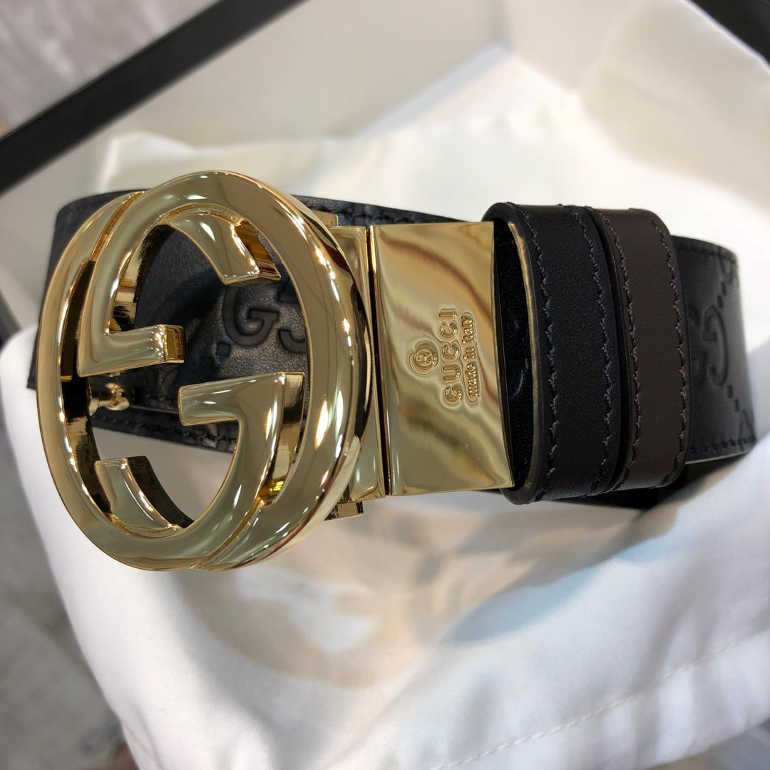Cheap Replica Gucci Men Leather Belt Black Width 3.8cm With Gold Buckle 087