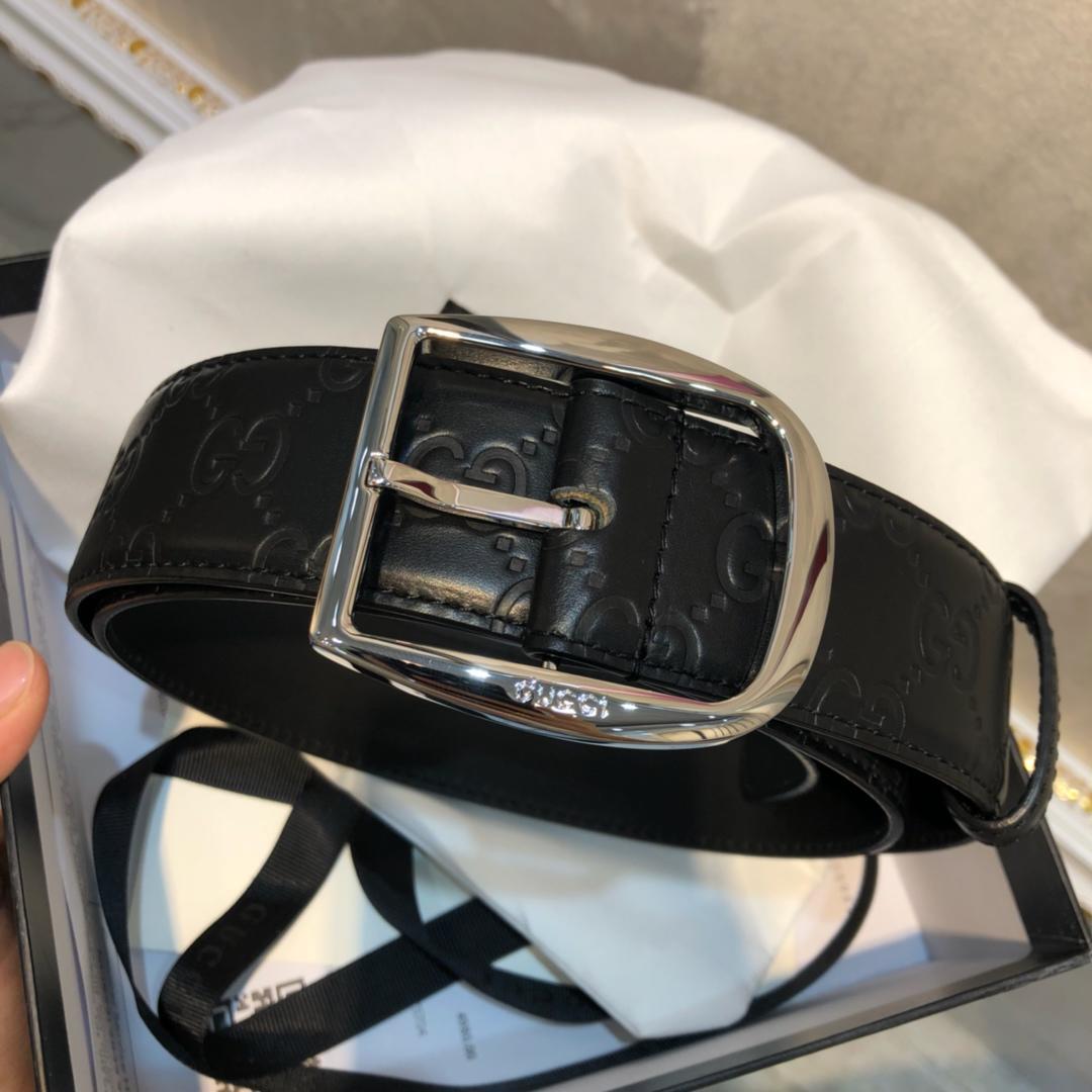 Cheap Replica Gucci Men Leather Belt Black Width 3.8cm With Silver Buckle 094