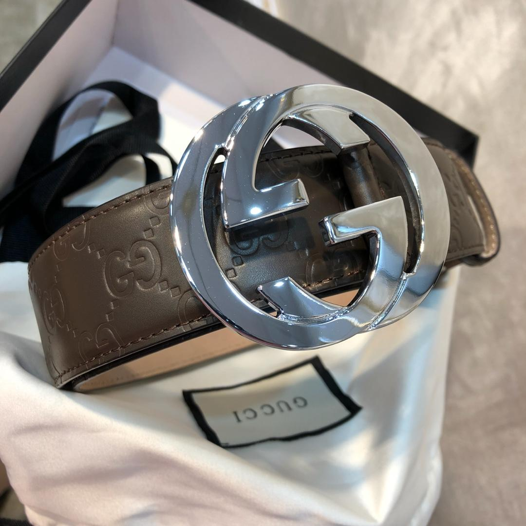 Cheap Replica Gucci Men Leather Belt Coffee Width 3.8cm With Silver Buckle 093