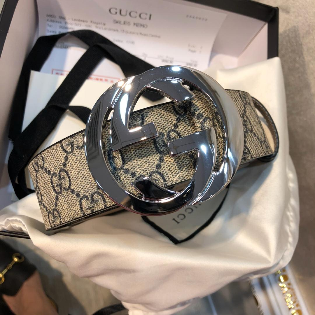 Cheap Replica Gucci Men Leather Belt Width 3.8cm With Bronze Silver Buckle 089