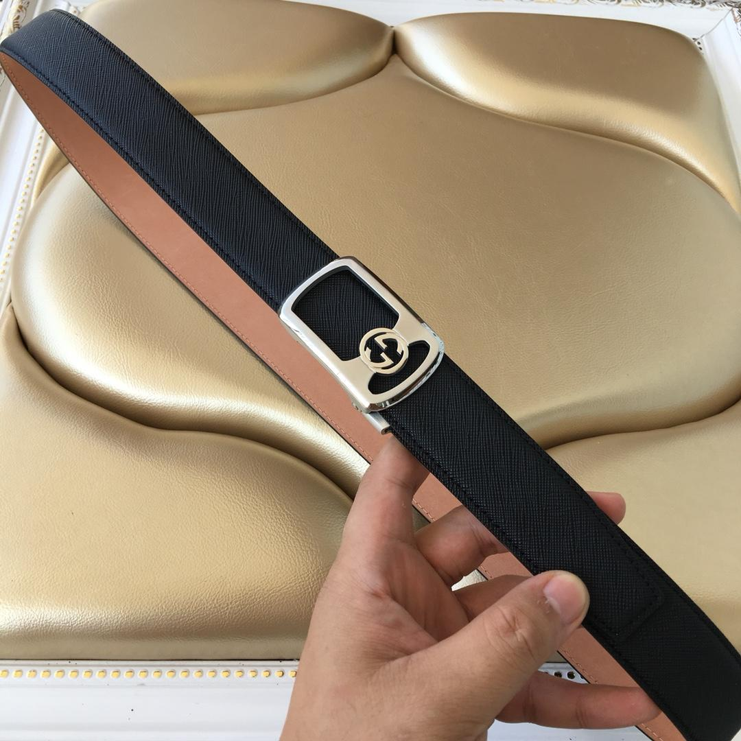 Cheap Replica Gucci Reversible Leather Men Belt Black Width 3.5cm With Silver Buckle 100