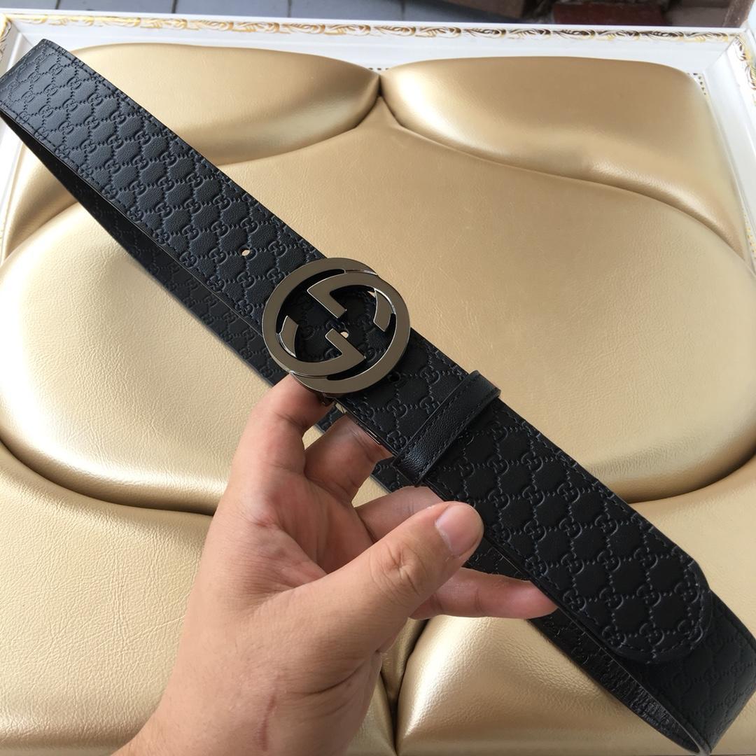 Cheap Replica Gucci Reversible Leather Men Belt Black Width 3.8cm With Black Buckle 096