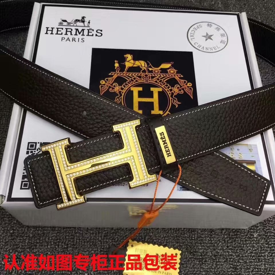 Cheap Replica Hermes Reversible Leather Men Belt Width 3.8cm With Diamond 18K Gold Buckle 046