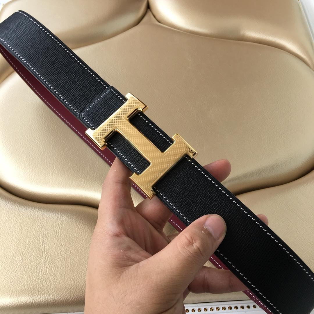 Cheap Replica Hermes Reversible Leather Men Belt Width 3.8cm With Gold Buckle 045