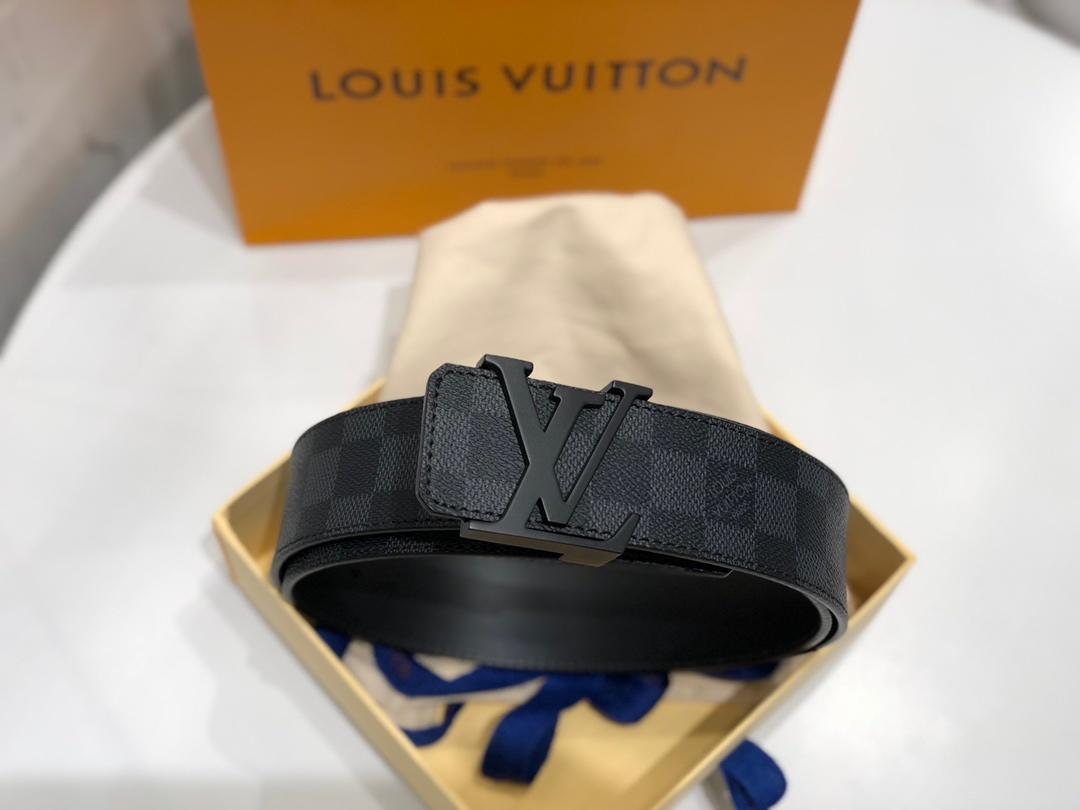 Cheap Replica Louis Vuitton Linitiales Damier Graphite Men Leather Belt Width 4cm M9808S 064