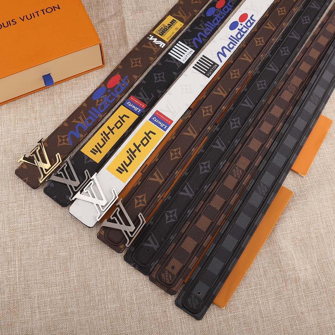 Cheap Replica Louis Vuitton Men Leather Belt Width 4cm 070