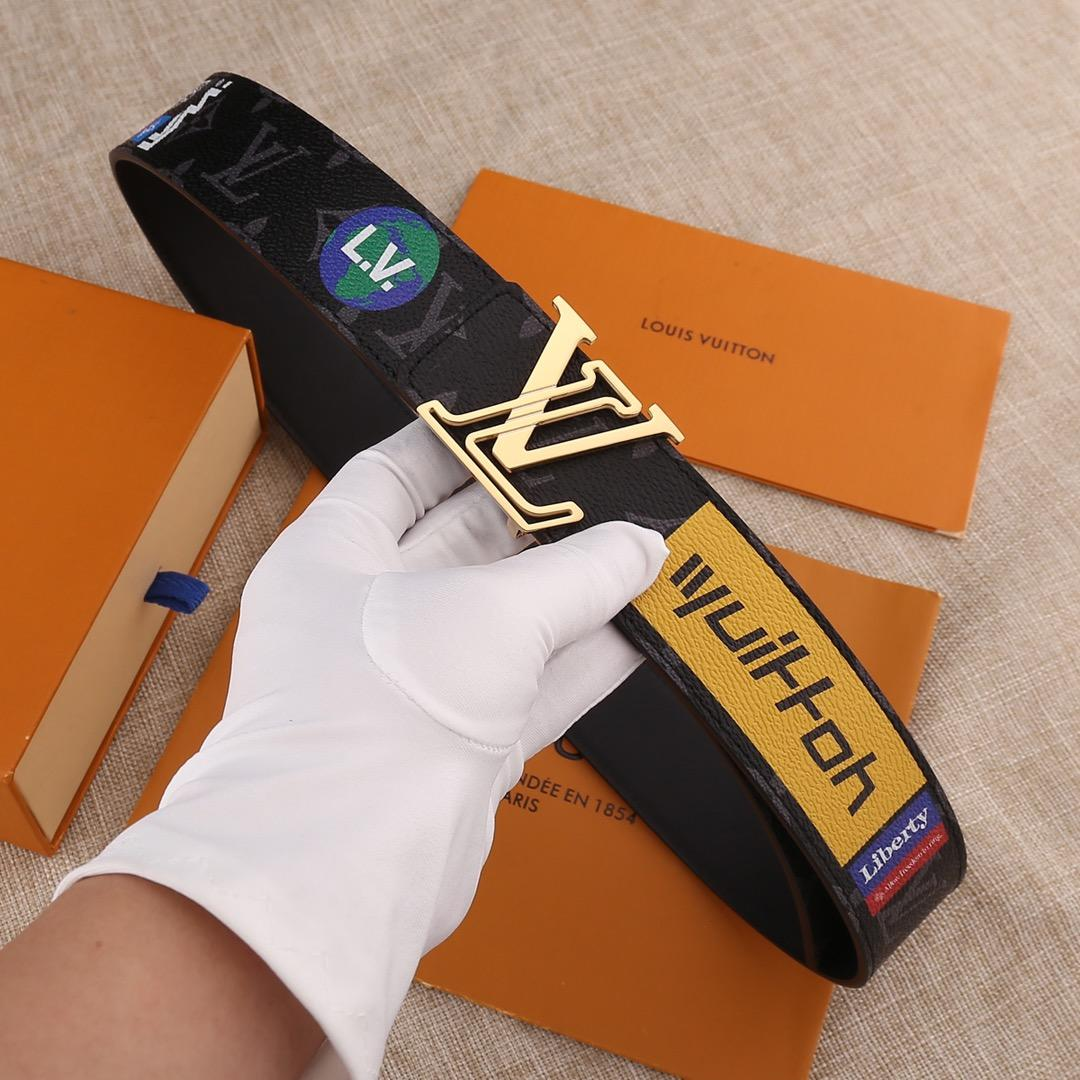 Cheap Replica Louis Vuitton Men Leather Belt Width 4cm 071