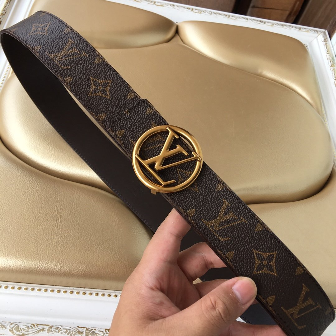 Cheap Replica Louis Vuitton Men Leather Belt Width 4cm 083