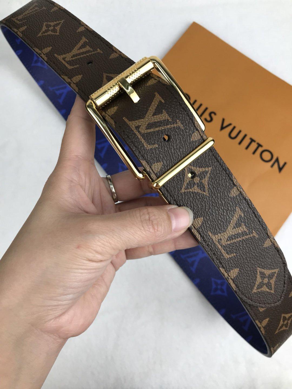 Cheap Replica Louis Vuitton Men Leather Belt Width 4cm 090