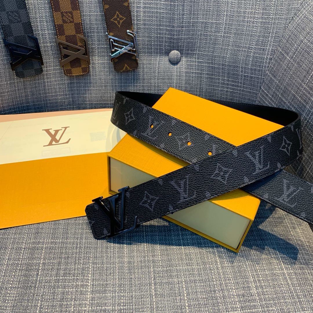 Cheap Replica Louis Vuitton Men Leather Belt Width 4cm 091