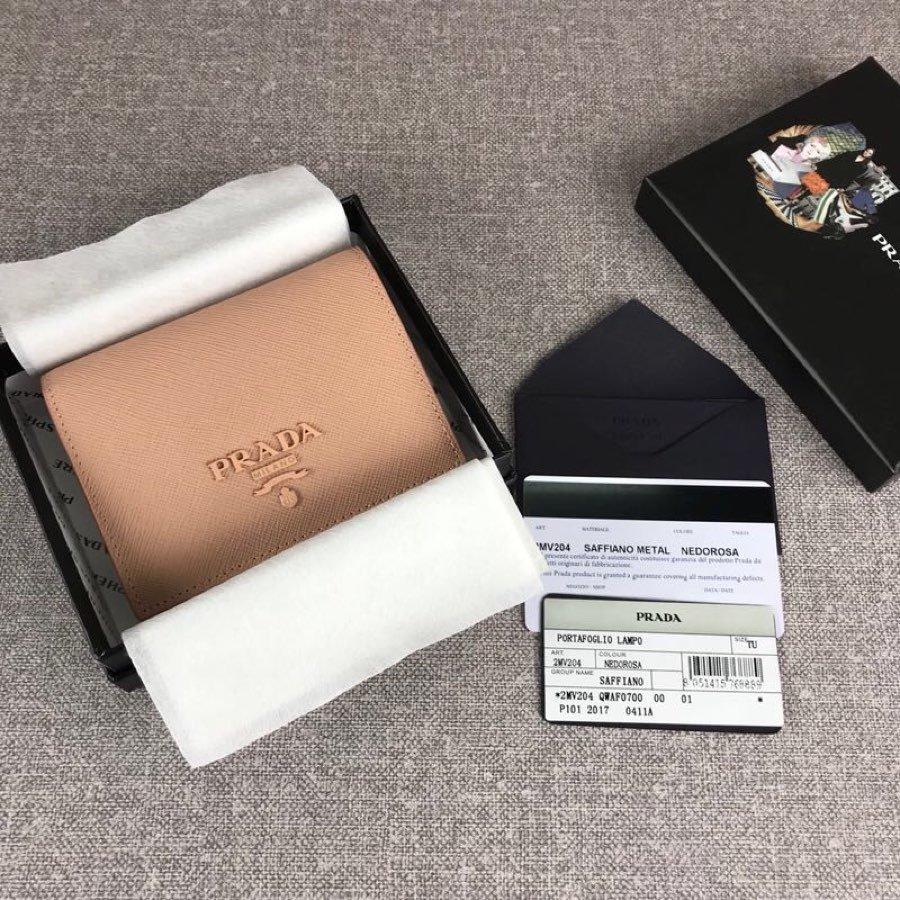 Cheap Replica Prada 1MV204 Women Small Saffiano Leather Wallet Earth-Yellow