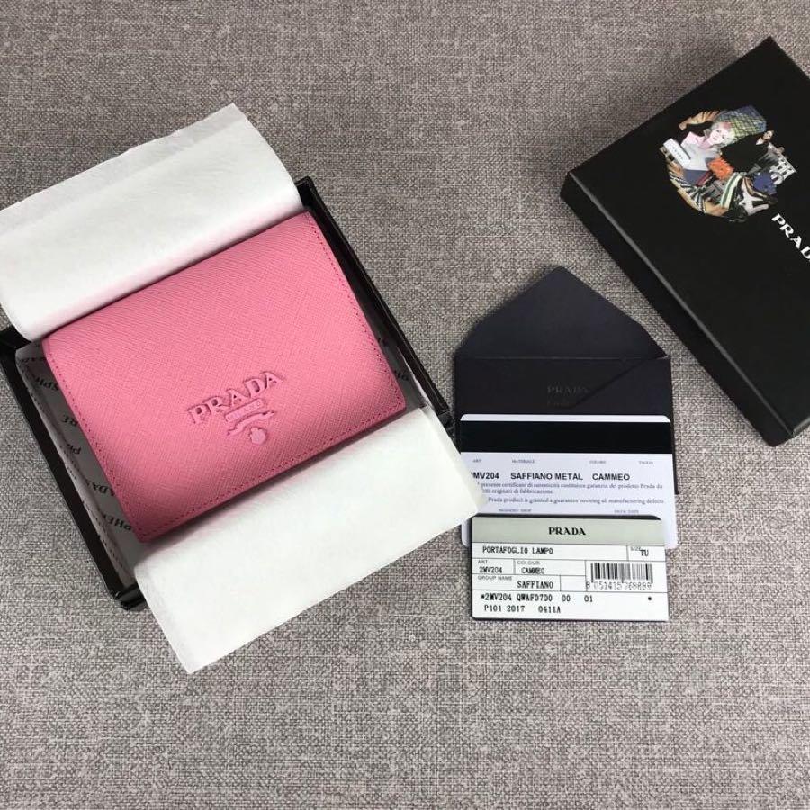Cheap Replica Prada 1MV204 Women Small Saffiano Leather Wallet Pink