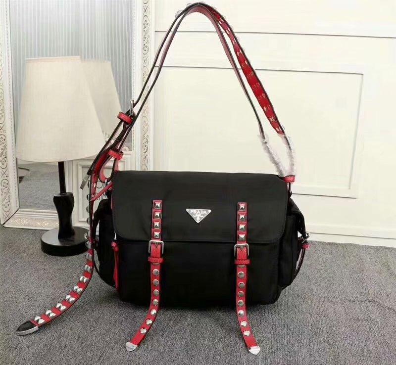 Cheapest 2018 New Prada Red Women Nylon Shoulder Bag