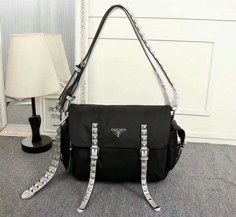 Cheapest 2018 New Prada Silver Women Nylon Shoulder Bag