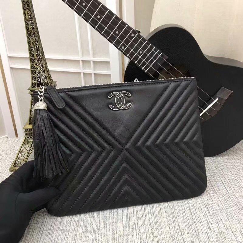 Cheapest A84469 CHANEL Pouch Calfskin Silver-Tone Metal Black