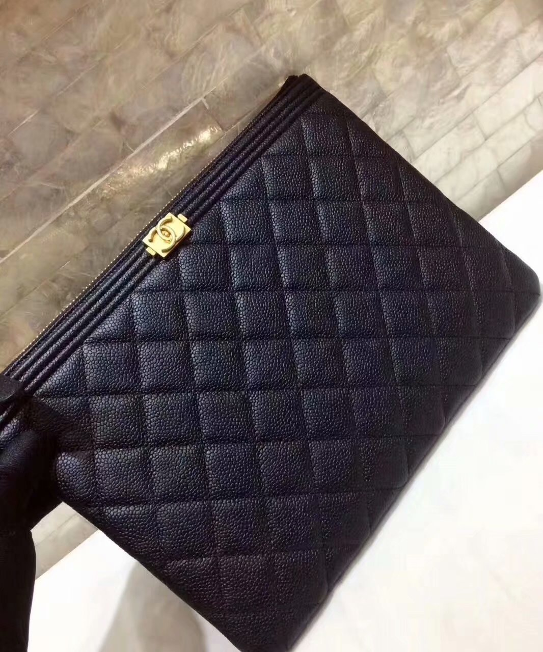 Cheapest BOY CHANEL Pouch Grained Calfskin Gold-Tone Metal Black