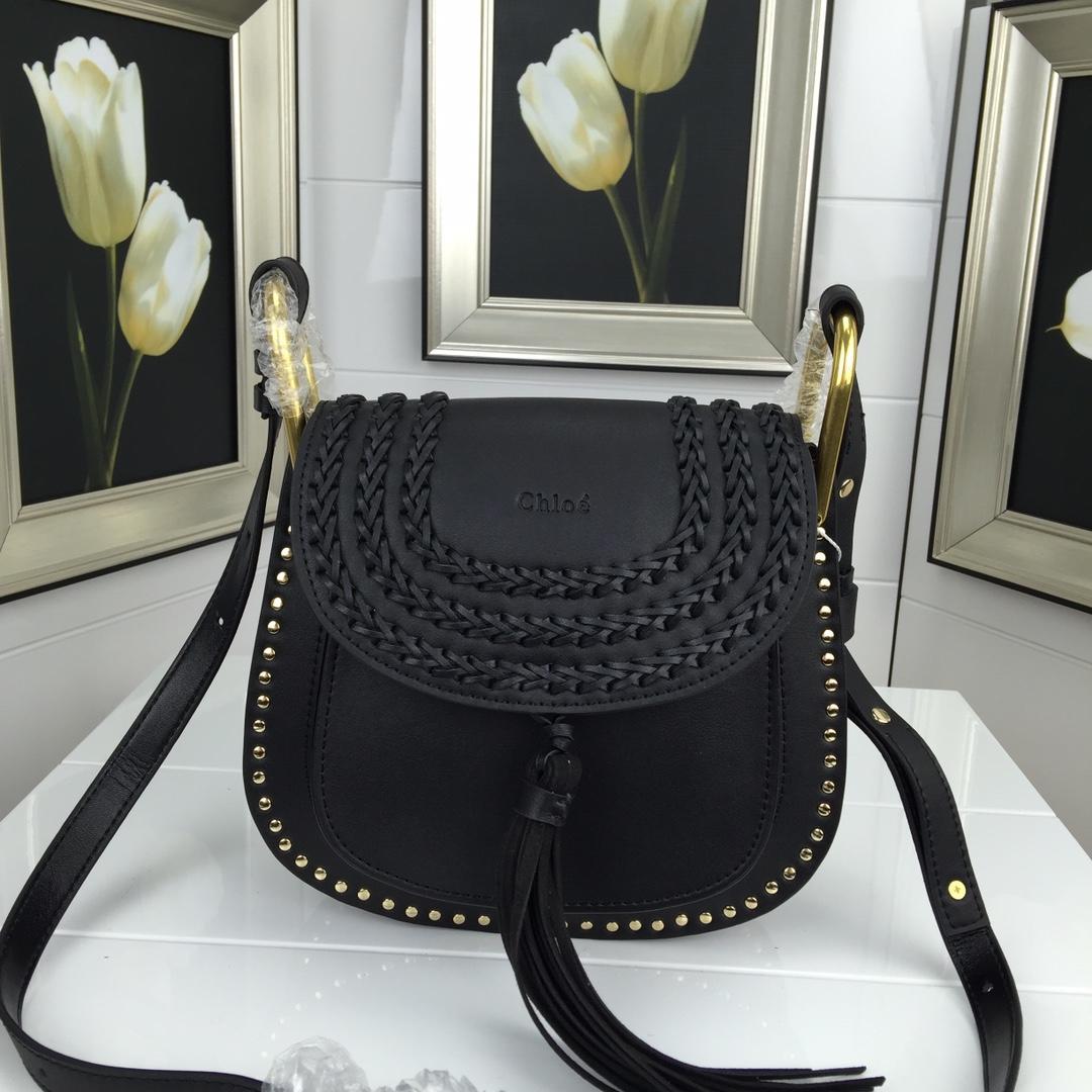 Chloe Marcle Small Shoulder Bag Grained Calfskin Black