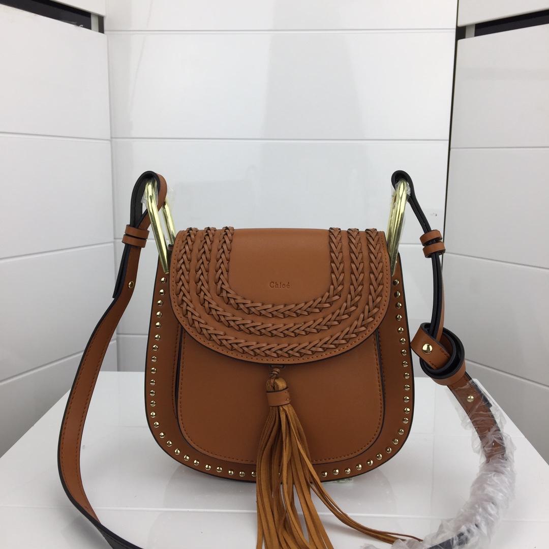 Chloe Marcle Small Shoulder Bag Grained Calfskin Coffee