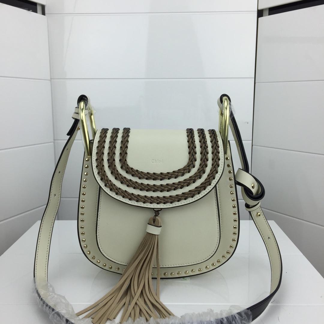 Chloe Marcle Small Shoulder Bag Grained Calfskin White