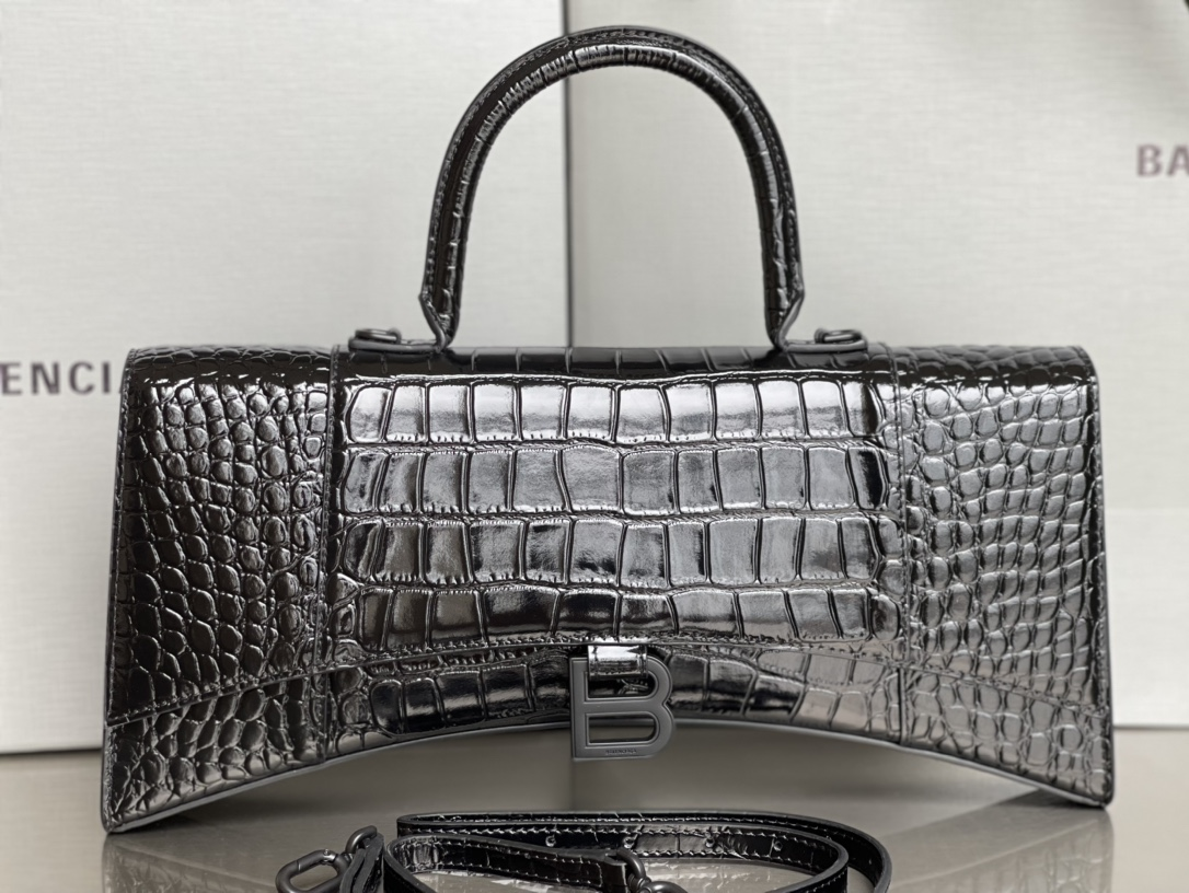 Copy Balenciaga Hourglass Stretched Top Handle Bag in Black shiny Crocodile Embossed Calfskin With Matte Black Hardware