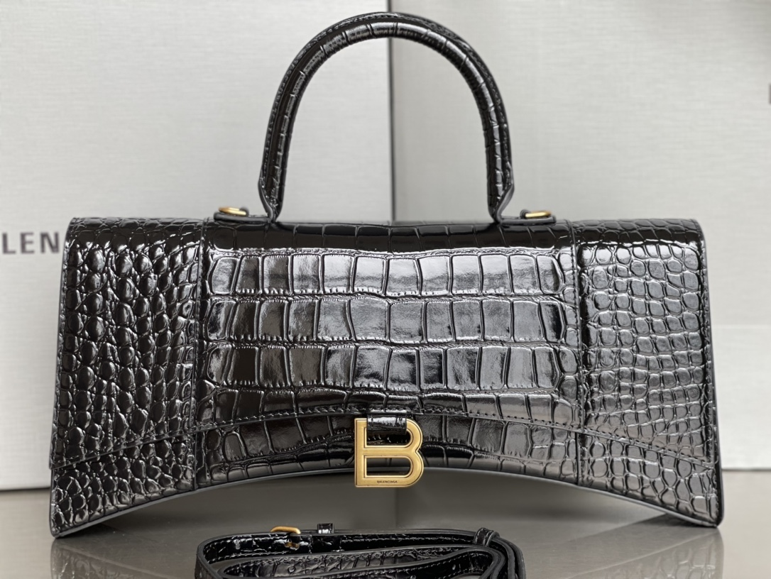 Copy Balenciaga Hourglass Stretched Top Handle Bag in Black shiny Crocodile Embossed Calfskin