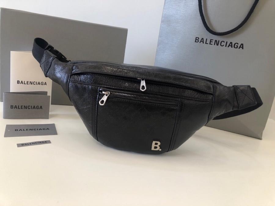 Copy Balenciaga Women Soft XS Beltpack in Black Nappa Leather