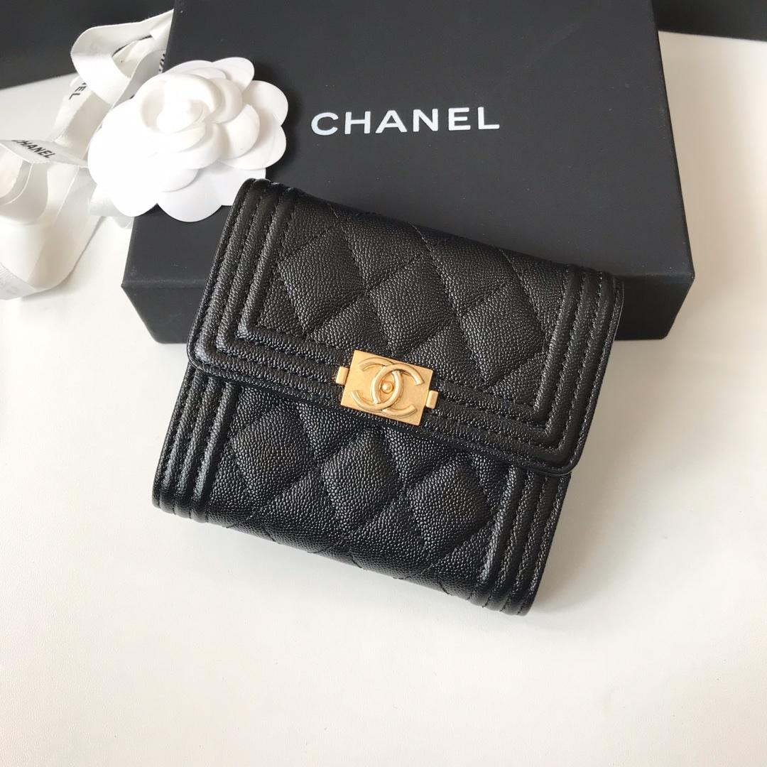 Copy Boy Chanel A81965 Small Flap Wallet Grained Calfskin Gold Tone Metal Black