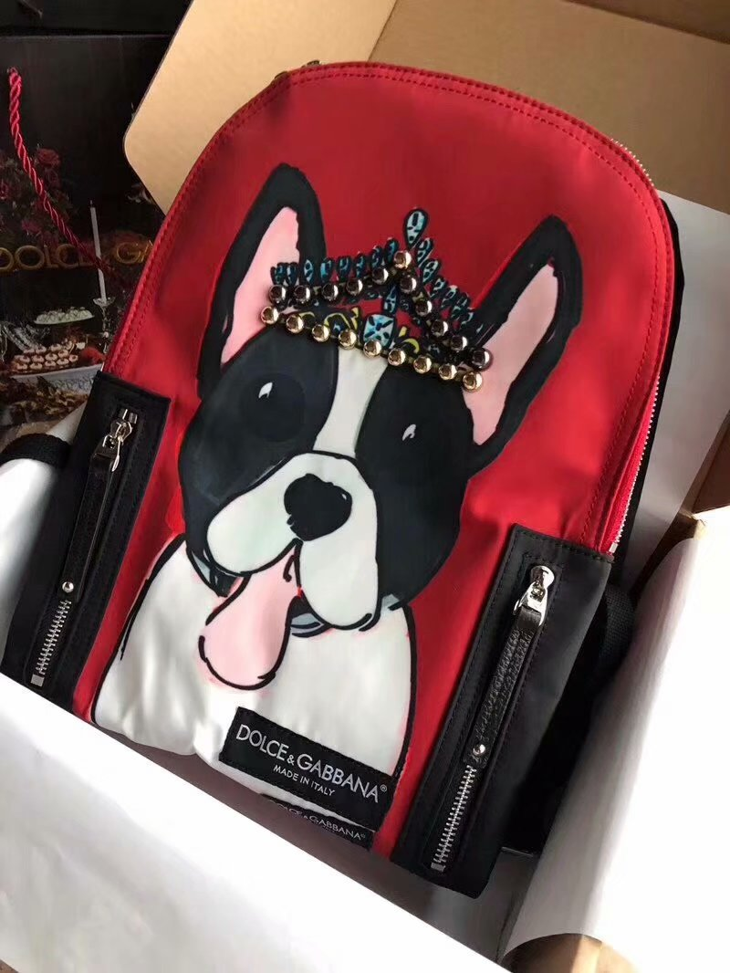 Copy Dolce&Gabbana Print Dog Women Backpack Red