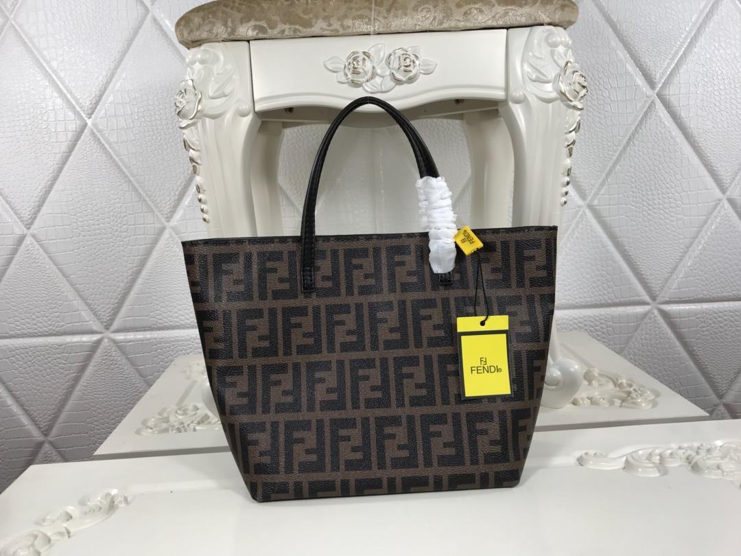 Copy Fendi Women Shopping Bag with FF Motif Black