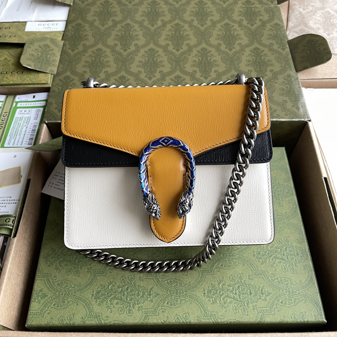 Copy Gucci 400249 Dionysus Small Shoulder Bag Burnt Orange and White Grainy Leather 20cm