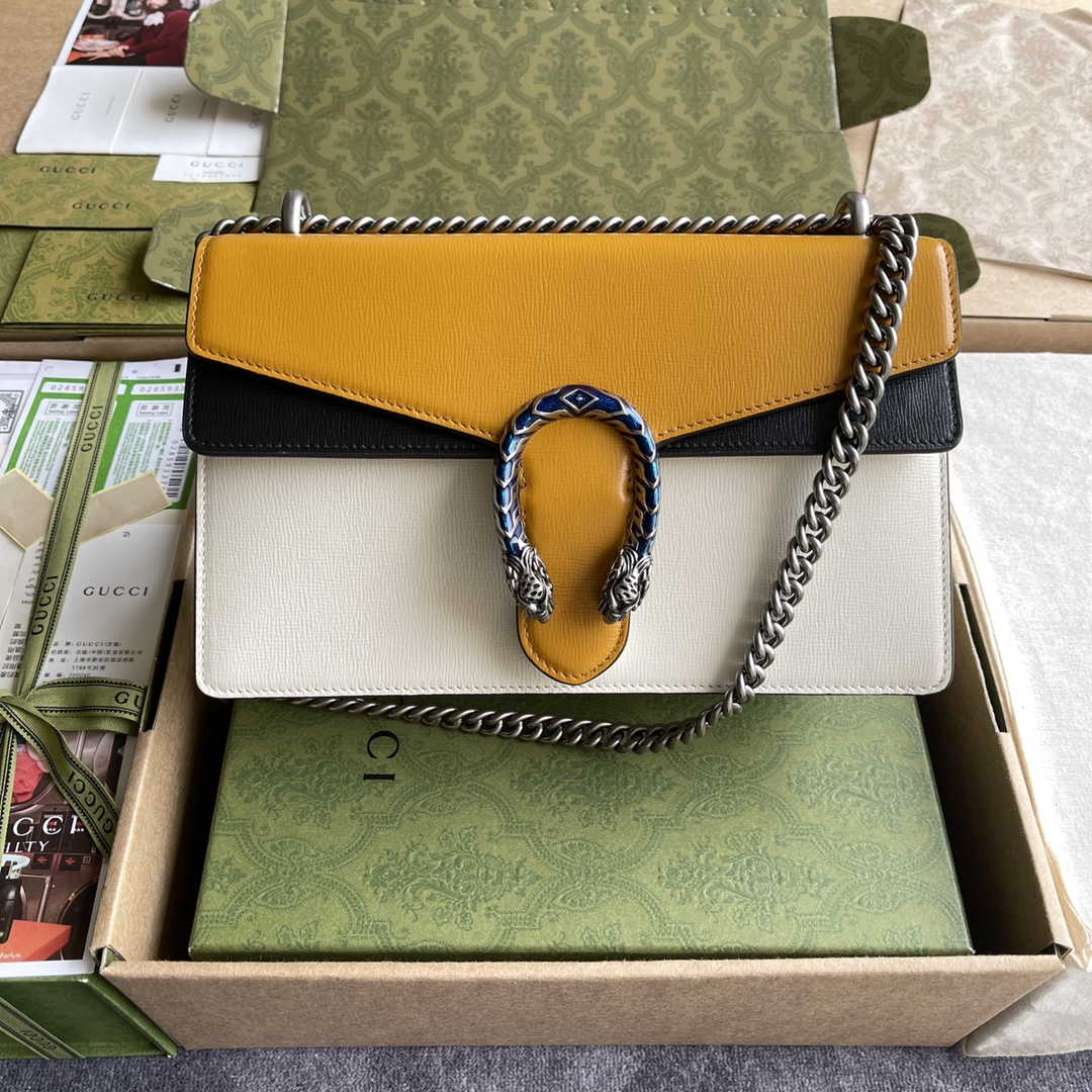 Copy Gucci 400249 Dionysus Small Shoulder Bag Burnt Orange and White Grainy Leather 28cm