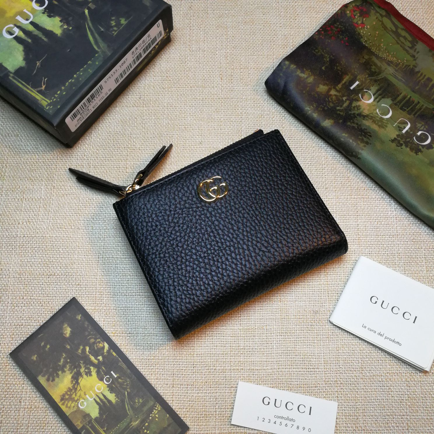 Copy Gucci 474747 GG Marmont Leather Wallet Black