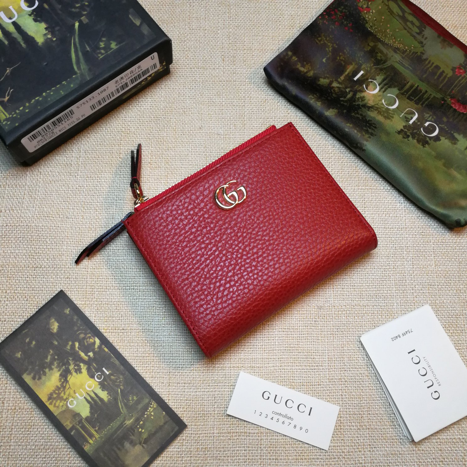 Copy Gucci 474747 GG Marmont Leather Wallet Red