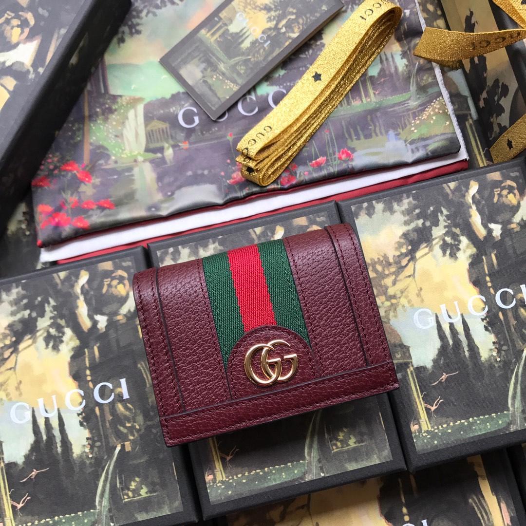 Copy Gucci 523155 Women Ophidia Card Case Wallet Dark Red
