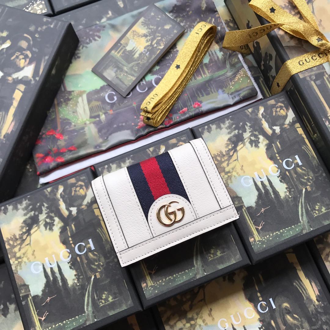 Copy Gucci 523155 Women Ophidia Card Case Wallet Dark White