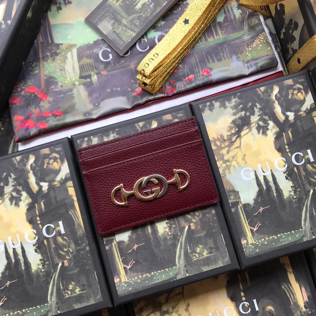 Copy Gucci 570679 Zumi Grainy Leather Card Case Dark Red