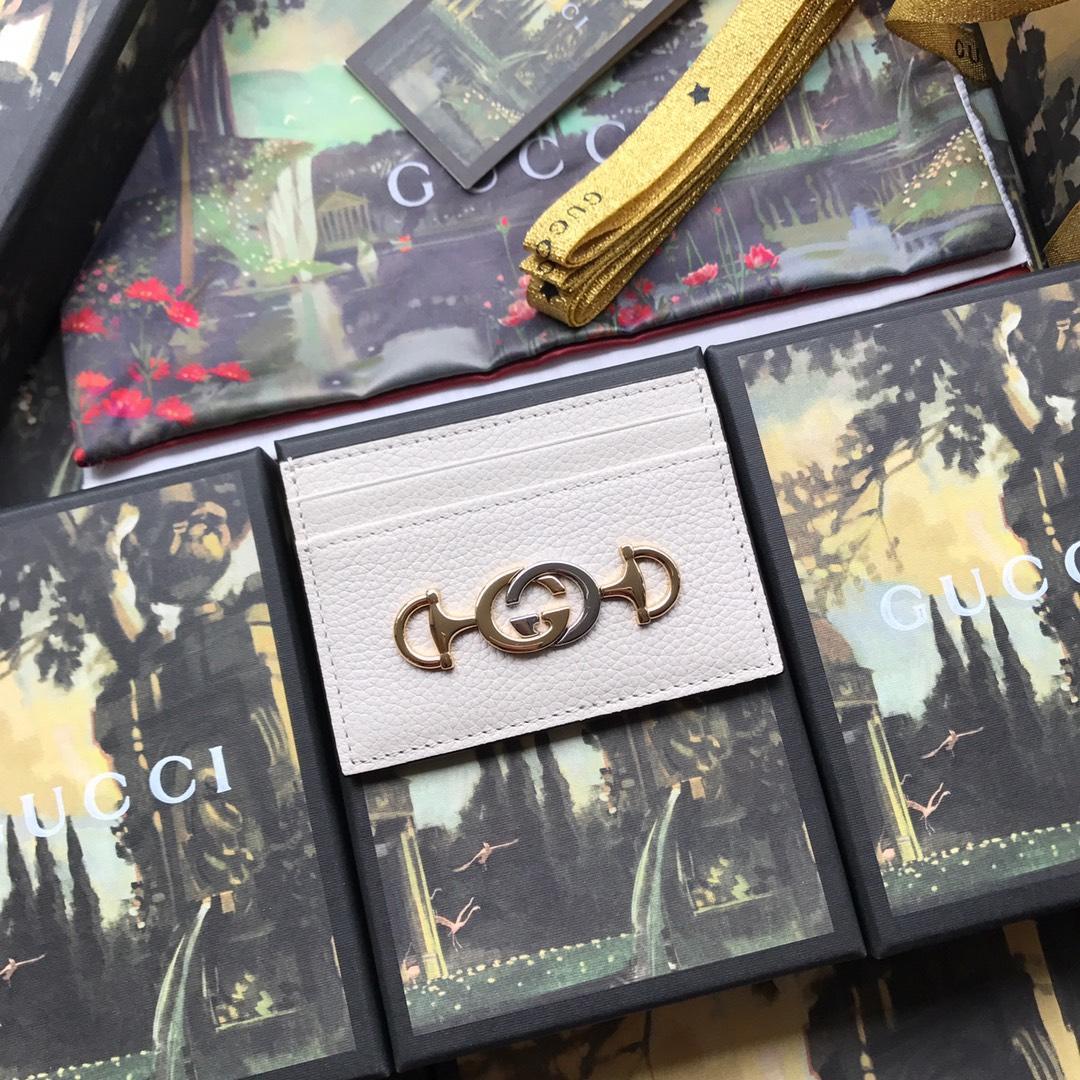 Copy Gucci 570679 Zumi Grainy Leather Card Case White