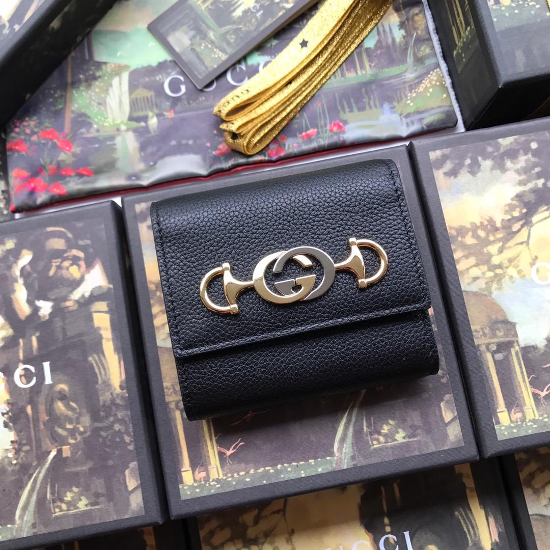 Copy Gucci 573622 Women Zumi Grainy Leather Wallet Black