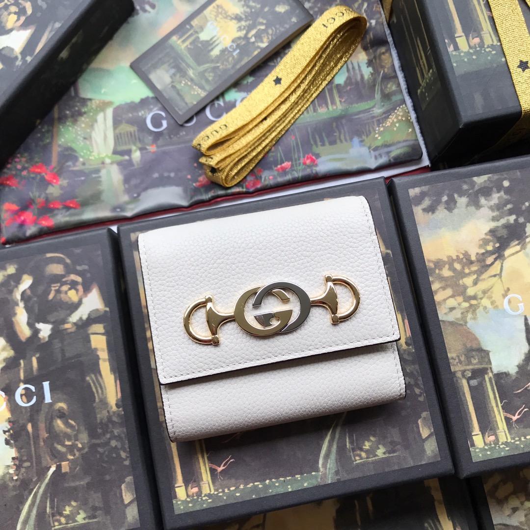 Copy Gucci 573622 Women Zumi Grainy Leather Wallet White