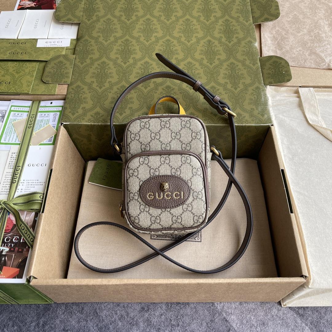 Copy Gucci 658556 Neo Vintage Mini Bag Beige and Ebony GG Supreme Canvas