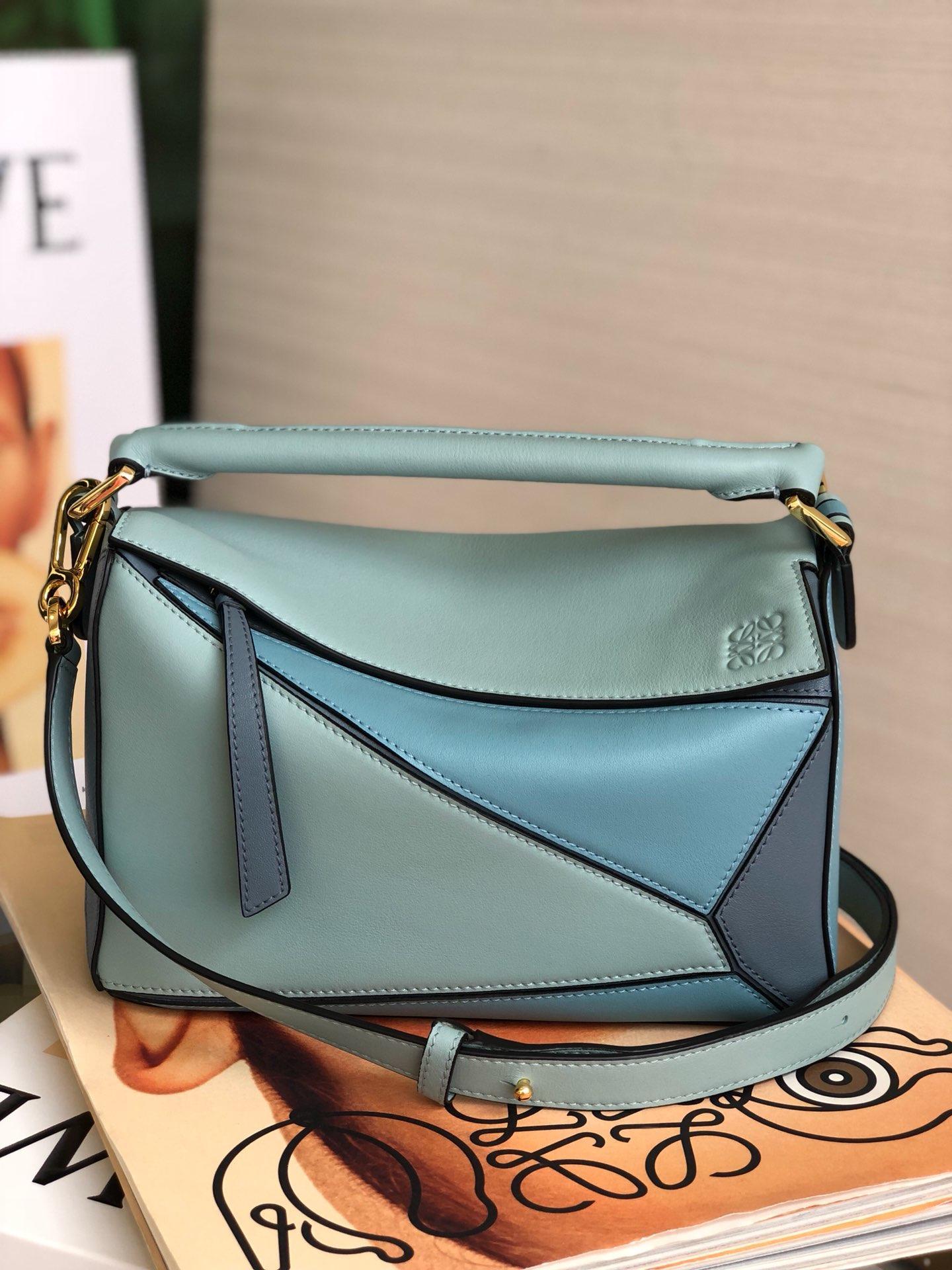 Copy Loewe Puzzle Bag 24cm and 29cm Sand Soft Grained Calf Varsity Blue Multitone