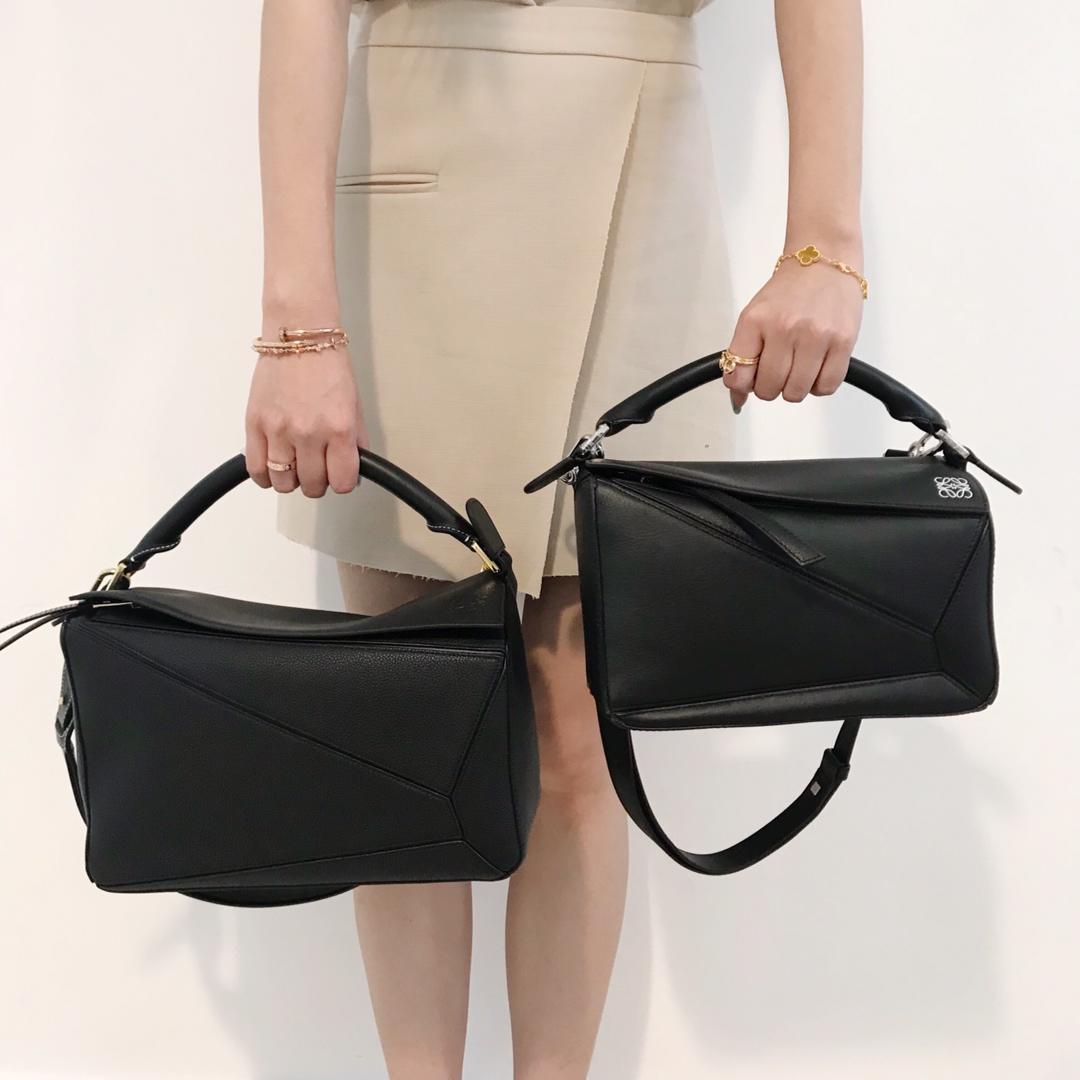Copy Loewe Puzzle Bag 29cm and 24cm Sand Soft Grained Calf Black